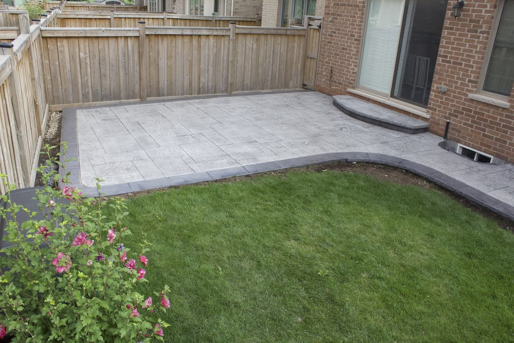 Stamped patio stonegray